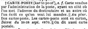 """Définition de """"CARTE-POSTE"""", supplément du dictionnaire Littré, 1886"""
