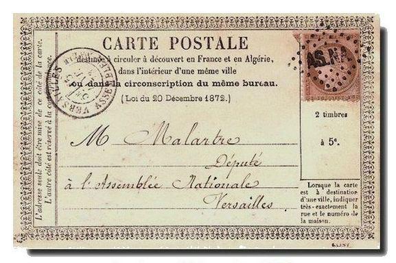 CPA précurseur du 15 janvier 1873, envoyée par le député Wolowski