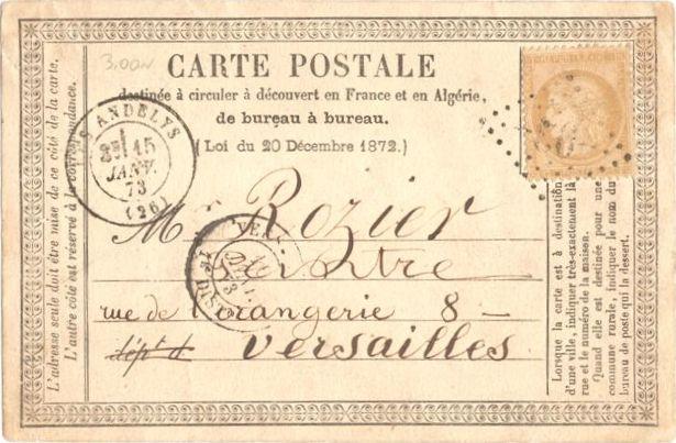 Carte Postale Ancienne précurseur circulée le 15 janvier 1873