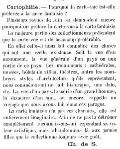 Le Collectionneur, 07/10/1905, page 3 - Carte-vue vs carte fantaisie