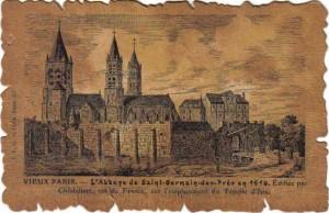 Carte Postale en cuir - Vieux Paris - L'abbaye de Saint-Germain-des-Prés en 1510