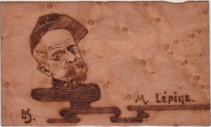 Carte Postale Ancienne en bois - M. Lépine - recto