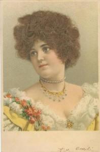 Carte Postale Ancienne - portrait de femme - vrais cheveux - vers 1900